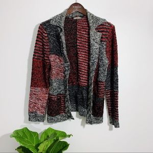 SPANNER Grey & Red Sweater Cardigan Medium/Large